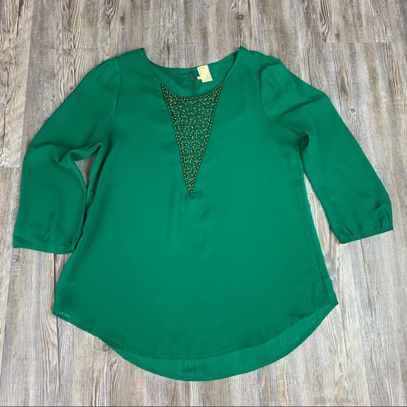 Emerald Green Bead Embellished Sheer Blouse Size M